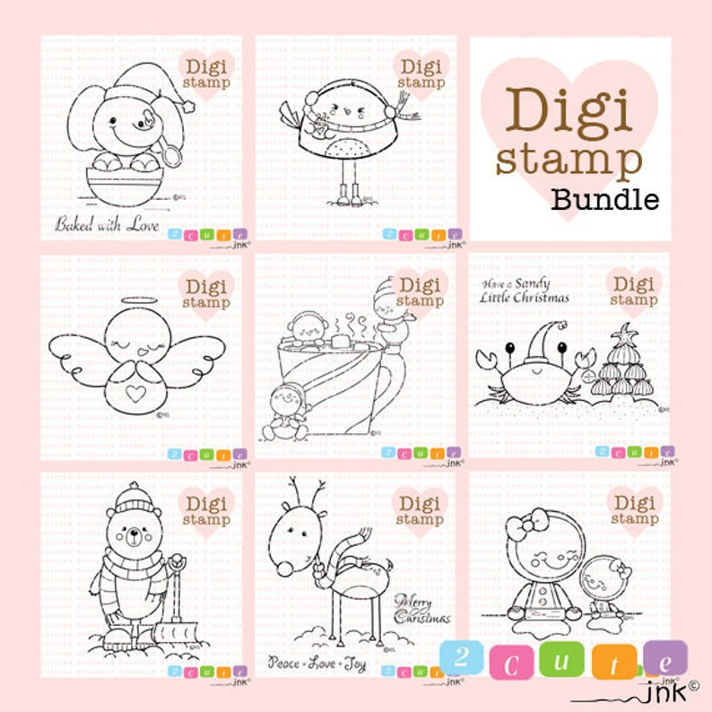 Christmas Digital Stamps  Winter Digital Stamps  Snowman image 0