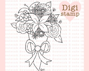 Flower Bouquet Digital Stamp for Card Making, Paper Crafts, Scrapbooking, Hand Embroidery, Invitations, Stickers, Coloring Pages