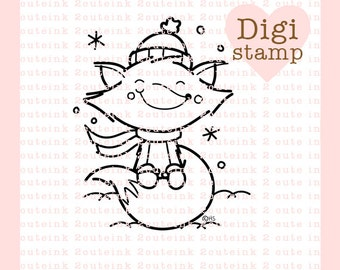 Winter Fox Digital Stamp Line Art for Card Making, Paper Crafts, Scrapbooking, Hand Embroidery, Jewlery, Coloring Pages