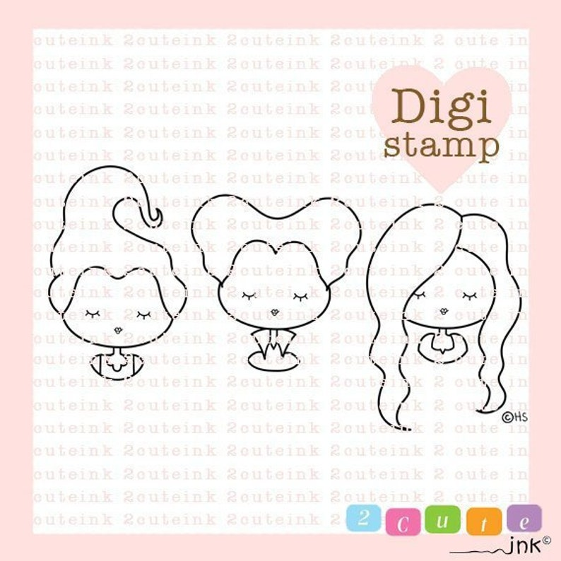 Sister Witches Digital Stamp  Witch Digital Stamps  image 0
