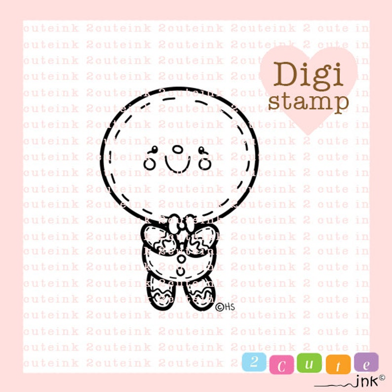 Gingerbread Boy Digital Stamp for Card Making Paper Crafts image 0