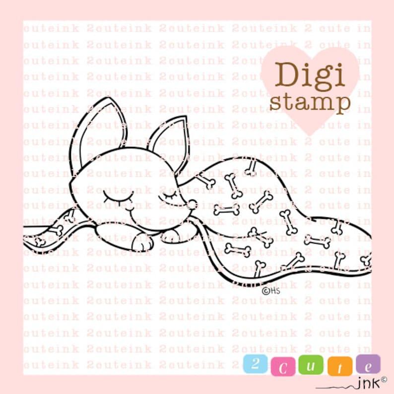 Sleepy Time Pup Digital Stamp for Card Making Paper Crafts image 0