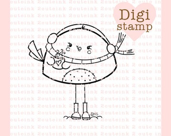 Hot Chocolate Birdie Digital Stamp for Card Making, Paper Crafts, Scrapbooking, Hand Embroidery, Invitations, Stickers, Coloring Pages