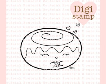 I Love Cinnamon Rolls Valentine Digital Stamp for Card Making, Paper Crafts, Scrapbooking, Invitations, Stickers, Coloring Pages