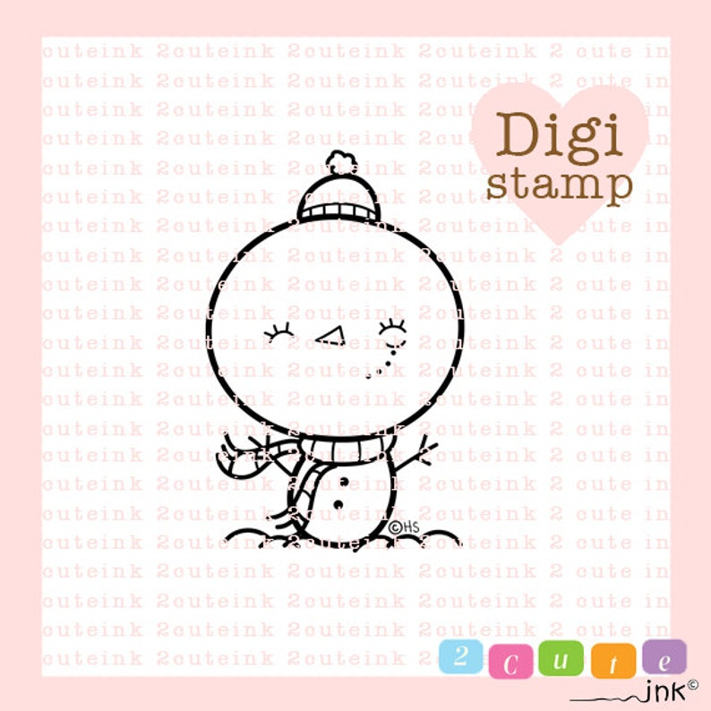 Snowman Girl Digital Stamp for Card Making Paper Crafts image 0