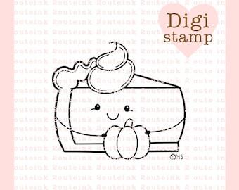 Pumpkin Pie Digital Stamp - Pumpkin Pie Stamp - Digital Thanksgiving Stamp - Pumpkin Pie Art - Pumpkin Pie Card Supply - Fall Craft Supply