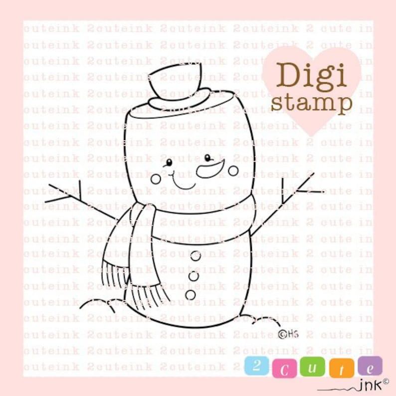 Marshmallow Snowman Digital Stamp  Snowman Digital Stamps  image 0