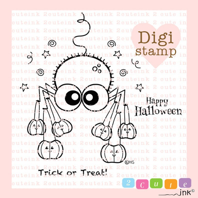 Trick or Treat Spider Digital Stamp  Halloween Digital Stamp image 0