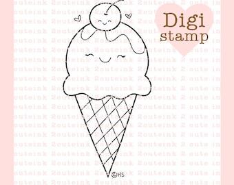 Ice Cream and Cherry Love - Digital Ice Cream Stamps - Valentines Stamp - Digital Valentines Stamp - Perfect Pair - Cardmaking