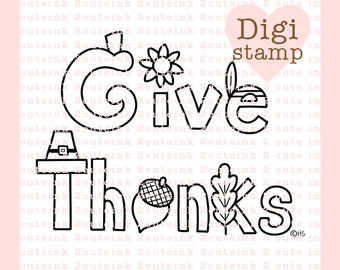 Give Thanks Digital Stamp Line Art for Card Making, Paper Crafts, Scrapbooking, Hand Embroidery, Jewlery, Coloring Pagess