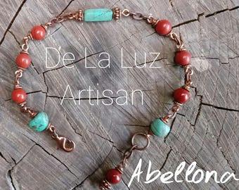 Abellona - Turquoise, Jasper, & Copper Bracelet