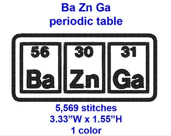 Big Bang Theory, Ba Zn Ga , periodic table-  machine embroidery design file.