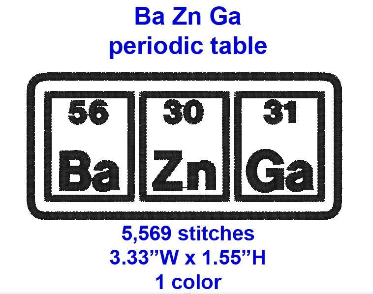 Big Bang Theory Ba Zn Ga Periodic Table Machine Etsy