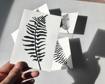 Five Blank Greeting Cards - Sword Fern - Original Block Print -  Hand Made - Note Cards