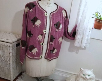 Vintage Buffalo Cardigan Sweater, Amazonias (M). Hand Knitted, Breckenridge, CO. PIMA Cotton. Whimsical Buffalo Gal Bison Design. Boho Chic