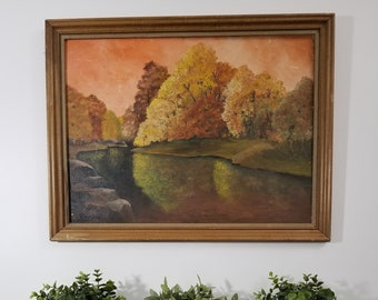 vintage 21x27 Autumn framed canvas art painting. Pine River, Ossipee, NH by Harold Thornton, Waterboro, ME.  Large rustic fall original