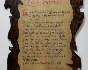 Vintage Love Sonnet by Elizabeth Barrett Browning. Huge XL Shellaced Retro Wood Plaque, asymmetrical shape. Love Poem. Romantic. Soulmates.