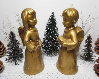 Vintage Gold Boy & Girl Choir Angels by Caffco Japan. Chippy, rustic, distressed mid-century Religious Christmas decor.