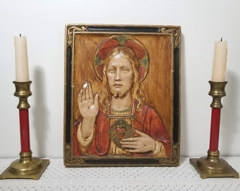 Vintage 3D Sacred Heart of Jesus Chalkware Plaque, Dimensional. Rustic, Distressed Religious Icon. Unique Catholic Wall Art. Religious Gift.
