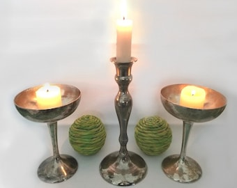 vintage Candle Holder and Two Goblets. Tarnished, Distressed Silver. Engraved Richard, Sue, 9-25-82. 3 Pc. Rustic Home Decor, Altar, Shrine.