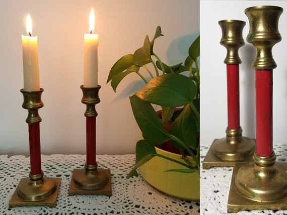 Rustic Candle Holder Small Brass Candlestick Holder Boho Candlestick