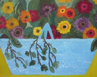 Flower Basket Floral Painting, Stretched Canvas, HUGE Bright Cheerful Vintage Original Art, Cottage Home Decor. STUNNING Naive Outsider Art.