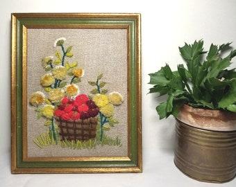 Vintage Completed Needlework. 1960's Puffy 3D Dimensional Crewel Work. Apple Basket, Daisies, Flower Garden. Rustic Green & Gold Frame.