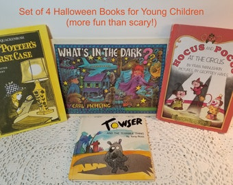 4 Young Children Halloween Books. Fun Frights! What's In The Dark, Hocus and Pocus, Towser and the Terrible Thing, Piet Potter's First Case.
