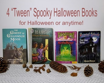 4 Spooky Halloween books, Kids Tweens. The Ghost of Grannock Moor, It's a Mystery, Deadtime Stories Mirror, Mirror, Haunted Schools True