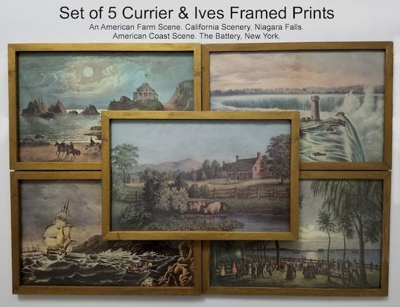 9929da9ef044 5 Vintage Currier   Ives Framed Prints. Instant Collection.