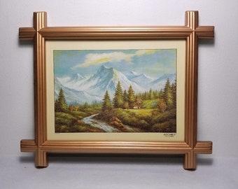 Vintage Gold Plastic Adirondack Frame. Switzerland Scene, Swiss Chalet, Alps Mountains, River, Pine Trees. Archies Photo Frame.