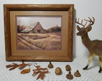 vintage Ruane Manning Autumn print double matted in carved frame. Rustic barn, meadow field, stream, fall foliage trees, brown gold tan gray