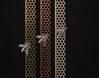 3 Free Bee package 3pc Sterling, brass, and copper Honeycomb bezel with 3 free sterling silver bees