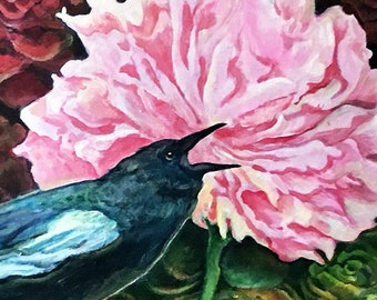Fine Art Painting - Raven Peony and Succulents - Acrylic on Canvas