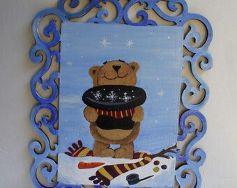 Catch a falling snowflake bear  home decor wall hanging Hand painted wood