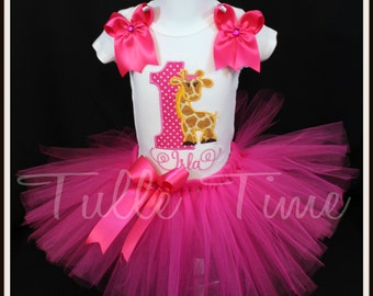 131159be5 Number Giraffe Hot pink theme Onesie bodysuit tutu dress 1st 2nd 3rd 4th  5th birthday