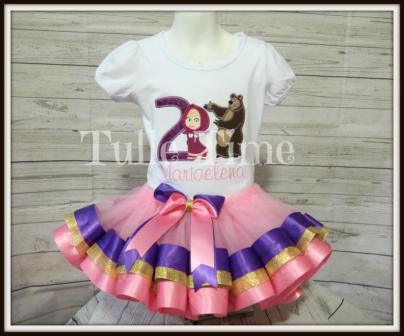 5f95bb3e93334 Masha and the bear birthday set ribbon trim tutu dress size 6-12m, 12m,  18m, 24m, 2t, 3t, 4t, 5t FREE SHIPPING pink gold purple