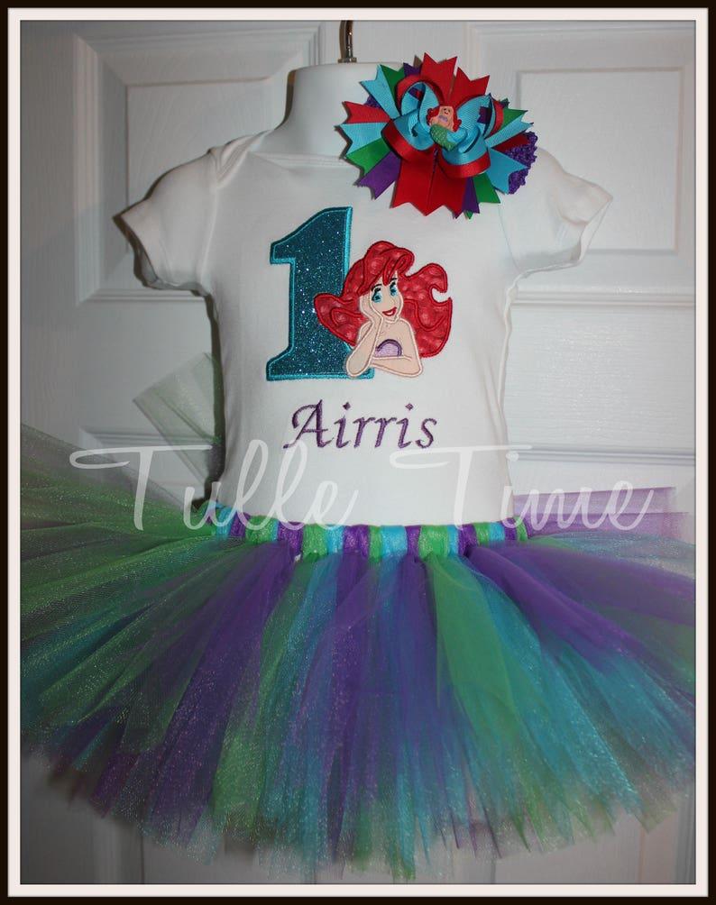 Personalized Ariel Little Mermaid theme shirt top bodysuit  with tutu dress all sizes