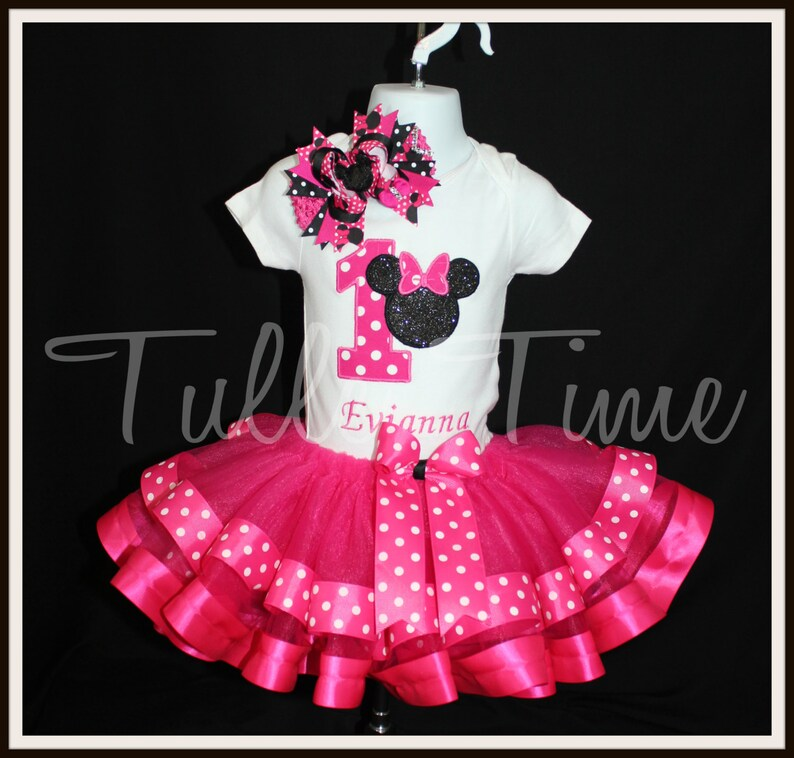 5354bb9da2239 Minnie mouse birthday outfit set ribbon trim tutu dress all sizes hot pink  FREE SHIPPING