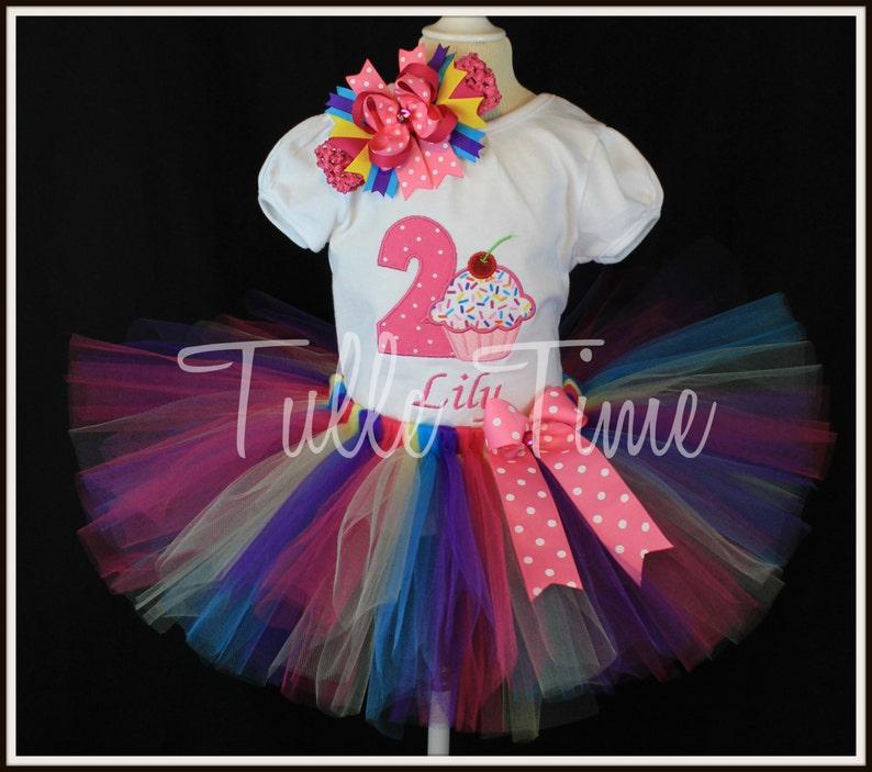 2nd Second pink Cupcake rainbow sprinkles birthday  tutu dress size 12m 18m 24m 3t