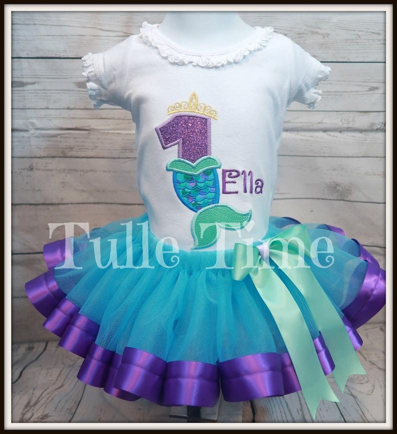Mermaid tail number birthday outfit set ribbon trim tutu dress FREE SHIPPING