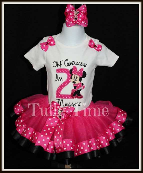 8442a6b8ca6f8 Minnie Mouse birthday outfit ribbon trim tutu dress Oh Twodles FREE SHIPPING