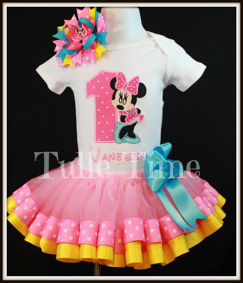 e30392d757753 Minnie Mouse birthday outfit tutu dress hair bow FREE SHIPPING