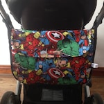 marvel inspired avengers pram baby changing bag diapers nappies  black waterproof  inner lining adjustable strap daddy day care