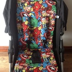 Hand made  avengers inspired fabric pram pushchair liner  print cotton fabric harness strap covers black fleece lined super heroes