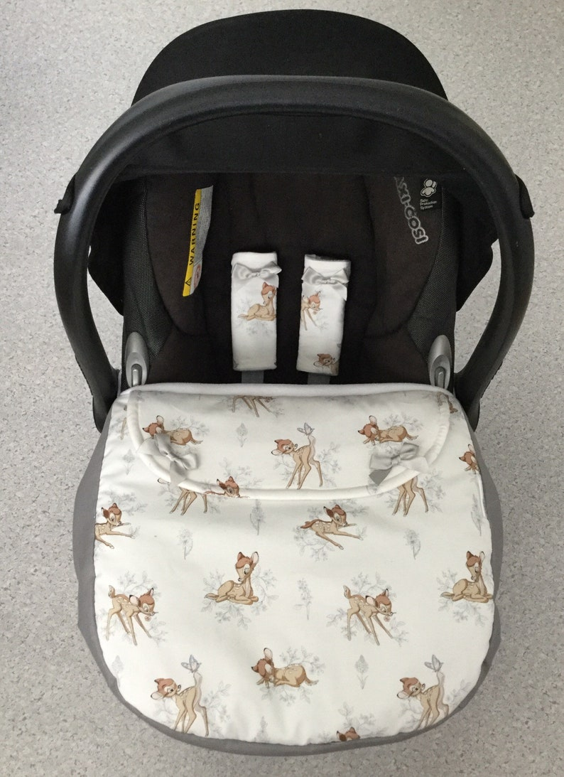 bambi plain grey  baby car seat apron harness strap covers image 0