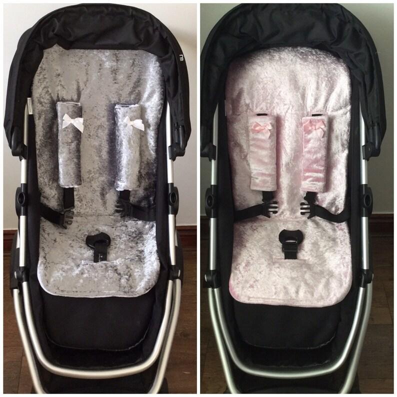pram pushchair liner crushed velvet grey pink white fleece image 0