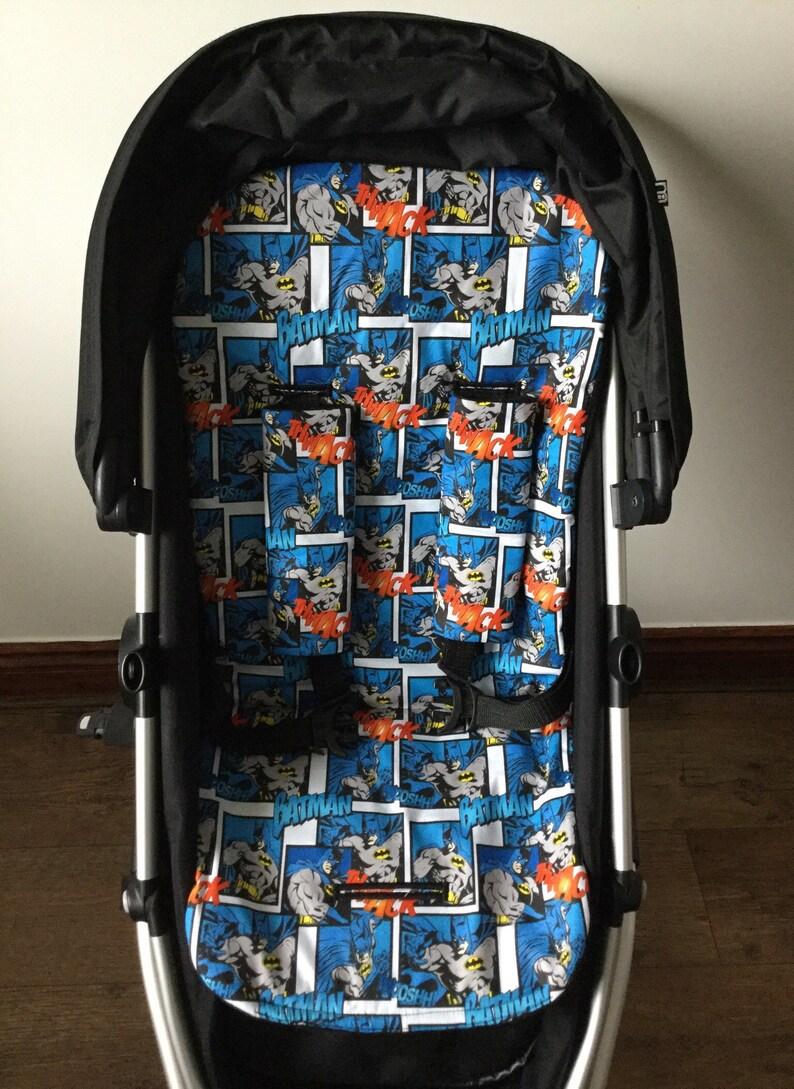 Handmade batman inspired fabric  pram pushchair liner cotton blue black