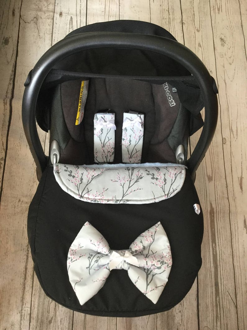 baby car seat apron harness strap covers detachable bow black image 0