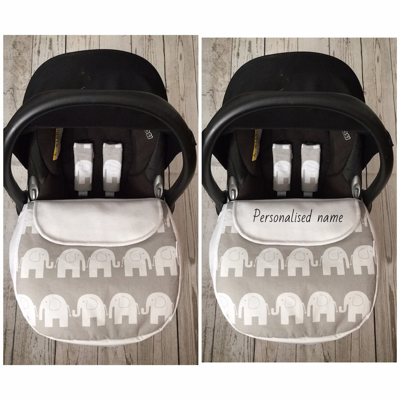 baby car seat apron slide on harness strap covers grey white image 0